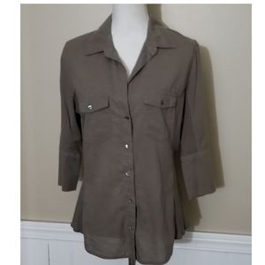 James Perse Contrast Ribbed Surplus Shirt Size 4